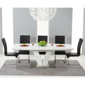 Mark Harris Furniture Mark Harris Malibu White High Gloss Butterfly Extending Dining Table And 6 Black Chairs, White High Gloss