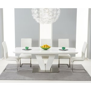 Mark Harris Furniture Mark Harris Malibu White High Gloss Butterfly Extending Dining Table And 6 Ivory Chairs, White High Gloss