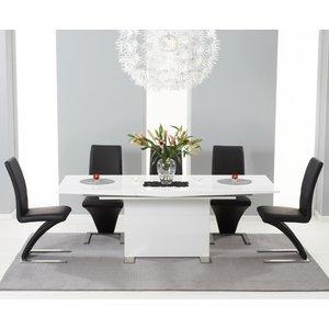 Mark Harris Furniture Mark Harris Marila White High Gloss Extending Dining Table And 6 Hereford Z Black Chairs, High Gloss