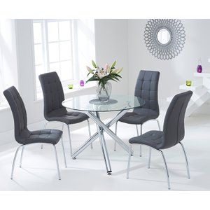 Mark Harris Furniture Mark Harris Odessa Glass Round Dining Table And 2 California Chairs - Chrome And Grey