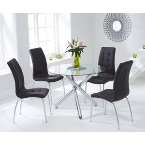 Mark Harris Furniture Mark Harris Odessa Glass Round Dining Table And 2 California Chairs - Chrome And Brown