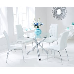 Mark Harris Furniture Mark Harris Odessa Glass Round Dining Table And 2 California Chairs - Chrome And White