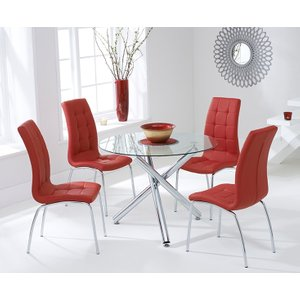 Mark Harris Furniture Mark Harris Odessa Glass Round Dining Table And 2 California Chairs - Chrome And Red