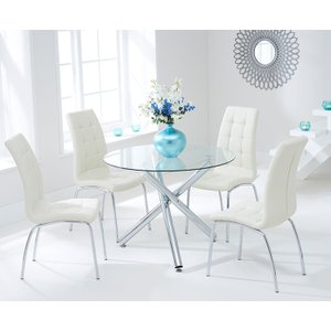 Mark Harris Furniture Mark Harris Odessa Glass Round Dining Table And 2 California Chairs - Chrome And Cream