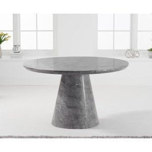 Mark Harris Furniture Mark Harris Ramiro Grey Marble Round Dining Table, Grey