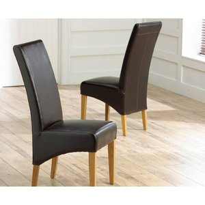 Mark Harris Furniture Mark Harris Roma Brown Bycast Leather Dining Chair (pair), Brown