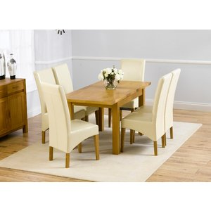 Mark Harris Furniture Mark Harris Rustique Oak Small Extending Dining Table And 4 Roma Cream Chairs, Lacquered