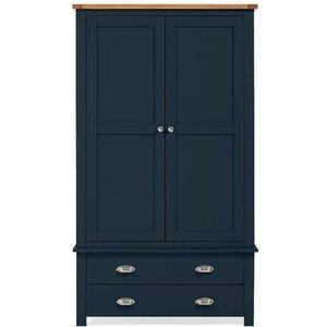 Mark Harris Furniture Mark Harris Sandringham Oak And Blue Painted 2 Door Combi Wardrobe, Oak with Blue Painted