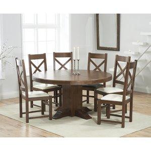 Mark Harris Furniture Mark Harris Turin Dark Oak Round Dining Table And 4 Centerbury Cream Chairs, Oak with Dark  Lacquer