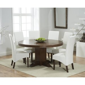 Mark Harris Furniture Mark Harris Turin Dark Oak Round Dining Table And 4 Wng Ivory Chairs, Oak with Dark  Lacquer