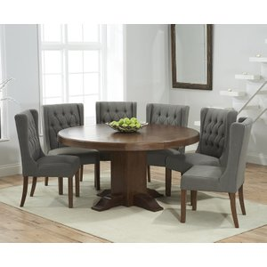 Mark Harris Furniture Mark Harris Turin Dark Oak Round Dining Table And 4 Stefini Grey Chairs, Oak with Dark  Lacquer