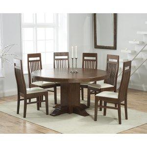 Mark Harris Furniture Mark Harris Turin Dark Oak Round Dining Table And 4 Monte Carlo Cream Chairs, Oak with Dark  Lacquer