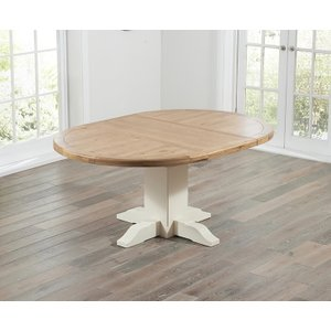 Mark Harris Furniture Mark Harris Turin Oak And Cream Round Extending Dining Table, Painted and Lacquered