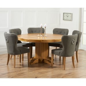 Mark Harris Furniture Mark Harris Turin Oak Round Dining Table And 4 Kalim Grey Chairs, Waxed