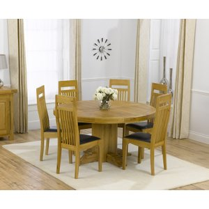 Mark Harris Furniture Mark Harris Turin Oak Round Dining Table And 4 Monte Carlo Brown Chairs, Waxed