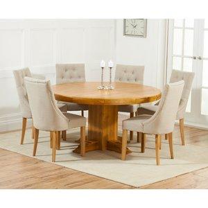 Mark Harris Furniture Mark Harris Turin Oak Round Dining Table And 4 Pailin Beige Chairs, Waxed
