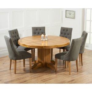 Mark Harris Furniture Mark Harris Turin Oak Round Dining Table And 4 Pailin Grey Chairs, Waxed