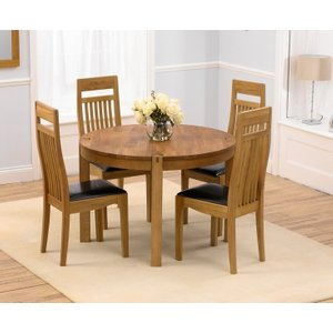 Mark Harris Furniture Mark Harris Verona Oak Round Dining Table And 4 Monte Carlo Brown Chairs, Oiled