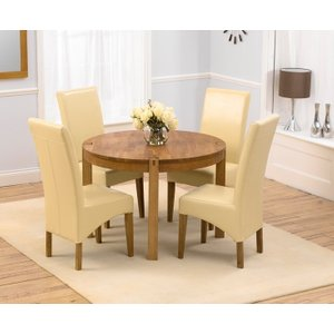 Mark Harris Furniture Mark Harris Verona Oak Round Dining Table And 4 Roma Cream Chairs, Oiled