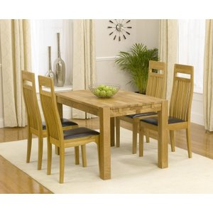 Mark Harris Furniture Mark Harris Verona Oak Small Extending Dining Table And 4 Monte Carlo Brown Chairs, Oiled