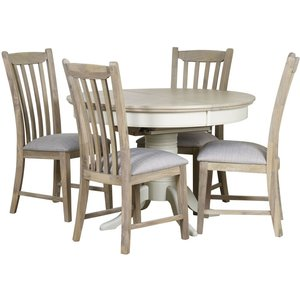 Mark Webster Designs Mark Webster Lily Round Extending Dining Table And 4 Slatted Dining Chairs - Grey Cashew, Painted