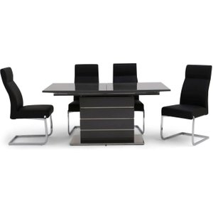Fairmont Massimo Grey High Gloss Butterfly Extending Dining Table And 4 Dante Black Chairs, Grey High Gloss
