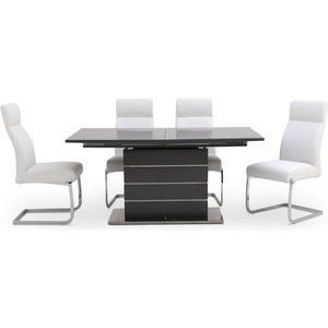 Fairmont Massimo Grey High Gloss Butterfly Extending Dining Table And 4 Dante White Chairs, Grey High Gloss