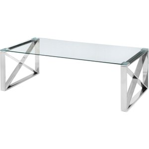 Fairmont Maxi Glass Coffee Table With Stainless Steel Frame