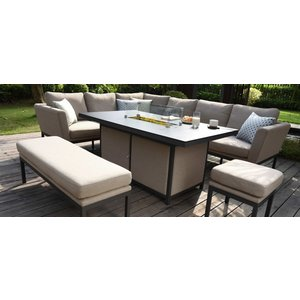 Maze Rattan Maze Lounge Outdoor Pulse Taupe Fabric Rectangular Corner Dining Set With Fire Pit Table, Taupe