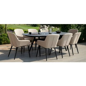 Maze Rattan Maze Lounge Outdoor Zest Taupe Fabric 8 Seat Oval Dining Set, Taupe