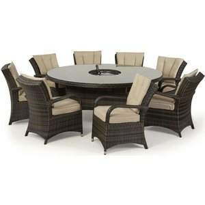 Maze Rattan Flat Weave Texas Brown Round Dining Table With Ice Bucket And 8 Chair, Brown