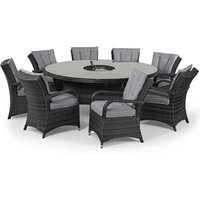 Maze Rattan Flat Weave Texas Grey Round Dining Table With Ice Bucket And 8 Chair, Grey
