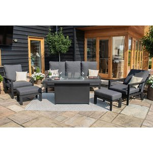 Maze Rattan Manhattan Reclining 3 Seat Sofa Set With Fire Pit Table And Footstools, Charcoal