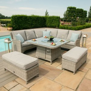 Maze Rattan Oxford Royal Corner Dining Sofa Set With Fire Pit Table, Light Grey