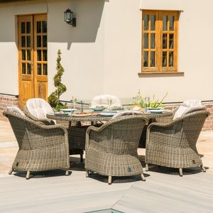 Maze Rattan Winchester Heritage 6 Seat Oval Fire Pit Dining Set, Natural