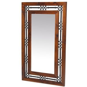 Hermitage Furniture Mica Sheesham Rectangular Mirror - 70cm X 115cm, Honey Brown Waxed Lacquered