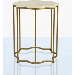 Deco Home Mier Marble End Table - Gold And White, Gold and White