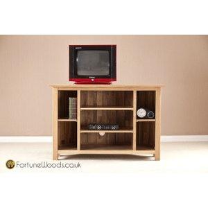 Fortune Woods Milano Oak Corner Tv Unit, Natural Lacquered
