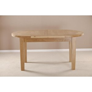 Fortune Woods Milano Oak Oval Extending Dining Table, Natural Lacquered