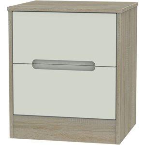 Welcome Furniture Monaco 2 Drawer Bedside Cabinet - Kaschmir And Darkolino, Kaschmir and Darkolino