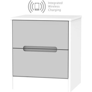 Welcome Furniture Monaco 2 Drawer Bedside Cabinet With Integrated Wireless Charging - Grey Matt And White, Grey Matt and White