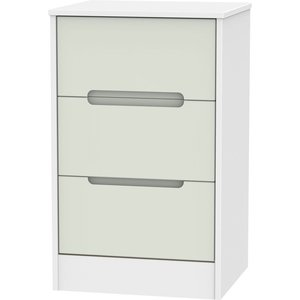 Welcome Furniture Monaco 3 Drawer Bedside Cabinet - Kaschmir And White, Kaschmir and White