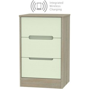 Welcome Furniture Monaco 3 Drawer Bedside Cabinet With Integrated Wireless Charging - Mussel And Darkolino, Mussel and Darkolino