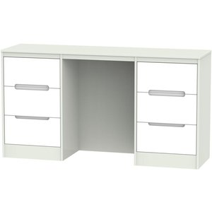 Welcome Furniture Monaco Double Pedestal Dressing Table - White And Kaschmir, White and Kaschmir