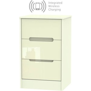 Welcome Furniture Monaco High Gloss Cream 3 Drawer Bedside Cabinet With Integrated Wireless Charging, High Gloss Cream Front and Matt Cream Carcase