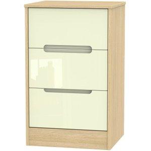 Welcome Furniture Monaco High Gloss Cream And Light Oak Bedside Cabinet - 3 Drawer Locker