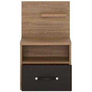 Furniture To Go Monaco Right Hand Facing 1 Drawer Bedside Cabinet - Oak And Matt Black, Oak and Matte Black