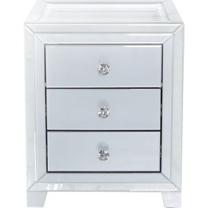 Deco Home Montague Grey Mirrored Bedside Cabinet With Glass Top, Grey