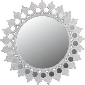 Deco Home Morocco Glossy White Sunburst Wall Mirror - Dia 112cm, White