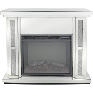 Deco Home Naro Mirrored Fire Surround With Electric Fire (set), Mirrored